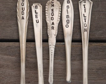 5 CHEESE MARKERS. Hand Stamped Silver Plate Spoon Handles. Gourmet Gifts. Mothers Day present. Brunch. Hostess Gift. Home Decor Gifts. Wine