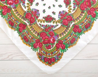 White Ukrainian Shawl, Russian floral head scarf, Bohemian Scarf, Vintage scarf, Mother Day Gift, Boho Scarf  (020)