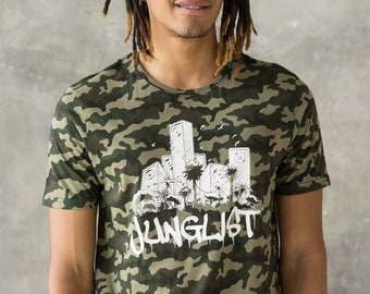 Junglist Sound System T Shirt - Jungle Massive Drum and Bass DJ & Synth 808 Music Producer Amen 808 Camo Camouflage Graphic Printed Tee