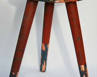 Hand Painted Vintage French Wood Stool - Deep Blue Red Copper leaf Varnish sealed Bohemian Unique sidetable Plant Stand Foot Rest