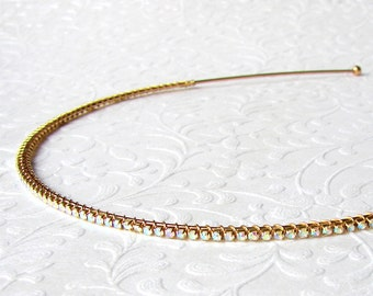 Super Skinny 2mm Rhinestone Headband Thin Gold Aurora Borealis Diadem Wedding Headpiece Thin Jeweled Hairpiece Bohemian Bride Head Band Prom