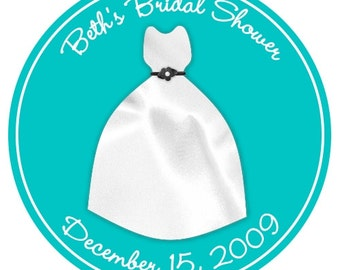 Custom Bridal Shower Labels, Ivory Wedding Dress on Teal Stickers (or choose YOUR colors) - Personalized for YOU