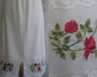 1950s white and red embroidered half slip