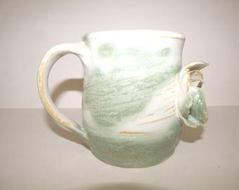 Ceramic White Green Flower Coffee Tea Mug