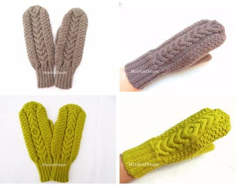 Merino wool mittens,warm winter gloves, wool mittens,hand knitted cable mittens, women's arm warmers,Christmas gift for Her,cable gloves