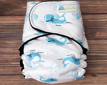 """Hybrid Fitted Cloth Diaper- """"Light Blue Whales"""""""