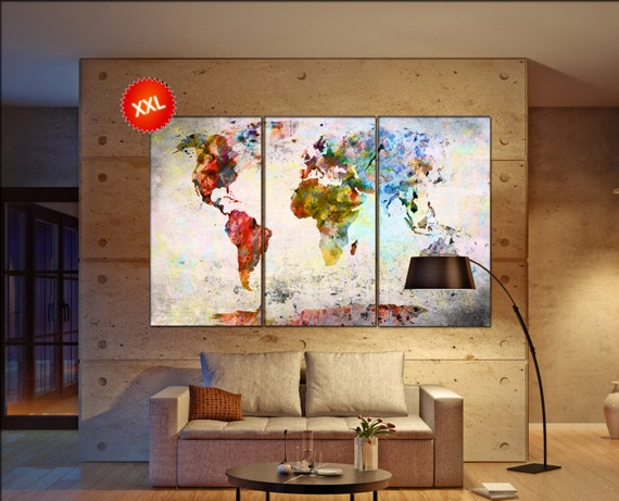 wall world map  print on canvas wall art Large wall world map art artwork wall world map World Map Print home office decoration
