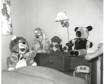 """Vintage Snapshot """"Phone's Ringing!"""" Princess Phone Teddy Bear Stuffed Animals Arm Out Of Frame Found Vernacular Photo"""