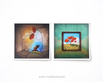 Nature and Whimsy Series Mini Print Set - 'Hello' & 'Through The Looking Glass' - Signed