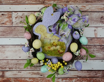 Free Shipping, Easter Bunny Wreath, Easter Egg Wreath, Bunny and Egg Wreath, Door Decor, Spring Wreath, Grapevine Wreath, Easter Egg Wreath