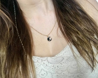 Necklace pendant gold color gold Black Moon and Star
