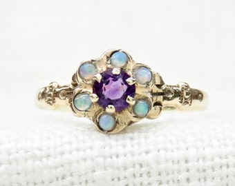 Victorian Ring with Opals and Amethyst in 10k Yellow Gold; Vintage Opal Ring; Vintage Amethyst Ring; Multistone Ring; Alternative Engagement