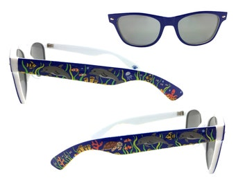 Women's Blue Under the Sea Sunglasses with Hand Painted Dolphins, Jellyfish, Octopus, Sea Turtle, Fish, Coral, Seaweed, Bubbles UV 400