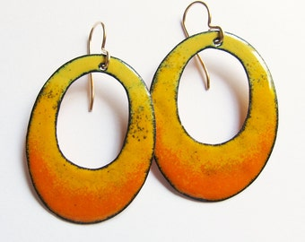 Yellow orange enamel hoop earrings Big oval boho dangles Gypsy bohemian jewelry Gold wire earrings