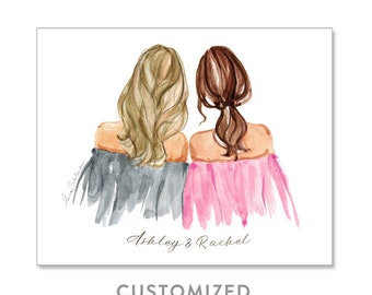 Best friend gift, Best friend illustration, Sisters illustration, Soul sisters gift, Gifts for sister, CUSTOMIZED PRINT, personalized print