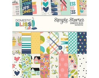 Domestic Bliss 6x8 Paper Pad by Simple Stories, Double Sided Cardstock and 8 Designer Prints