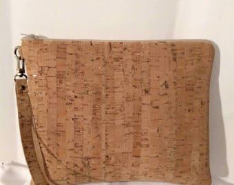 vegan cork leather wristlet beach wedding rustic wedding clutch purse BBsCustomClutches resort vacation clutch purse