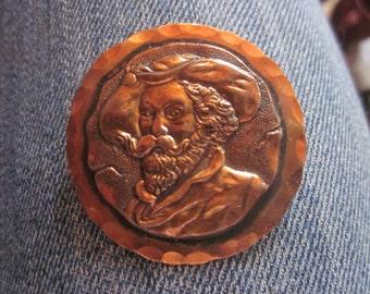 vtg solid copper pin . brooch,
