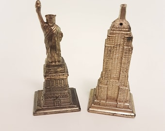 Salt and Pepper Shakers | Made in Japan, Empire State Building and Statue of Liberty, Metal Salt and Pepper, New York Souvenir, scale model