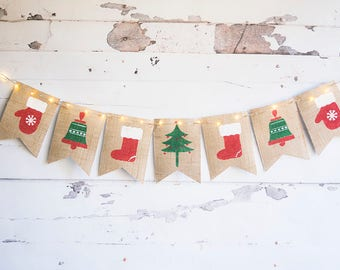 Christmas Decor, Merry Christmas Banner, Holiday Banner, Christmas Tree Banner,  Christmas Lights Garland, Mittens, Bells, B719