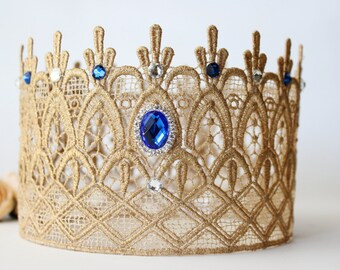Rhinestone Bling Gold Lace Crown for Princess and Queen - Emma - Lace Crown - Swarovski - Crystal - Regal - Royal - Photo Prop - Full Size