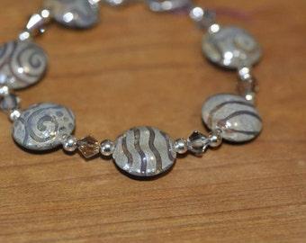 Earthy Lampwork Lentil Bracelet