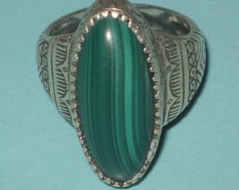 Vintage signed POLLACK RELIOS 925 Sterling Silver Malachite Tribal Ring size 8.5
