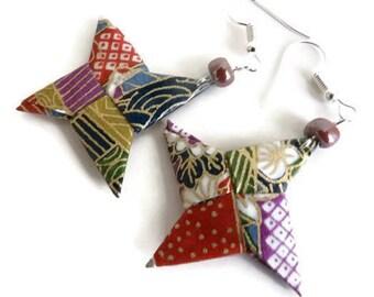 Shuriken origami star earrings