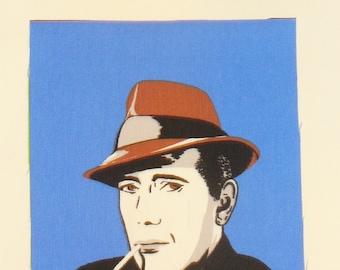 Hollywood Star, Bogart Fabric, Humphrey Bogart, Andy Warhol Style,Bogart Block, Home Dec Fabric, Art Deco style