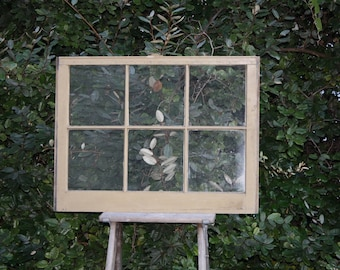 Old Wooden Window Pane Frame. Vintage Large  Wood Six Pane with Glass