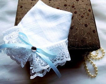 Bridal Handkerchief with White Lace