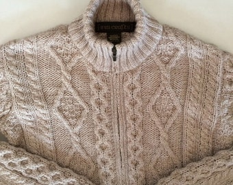 Irish Fisherman Sweater in Oatmeal Cream Wool Cable Knit / Thick Wool Zip Cardigan Sweater by   / Rich irish Knit / S M