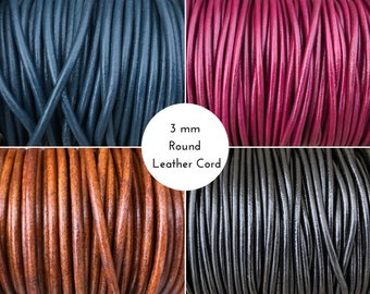 3 mm Round Leather Cord By The Yard European 3mm Leather Cord LCR3