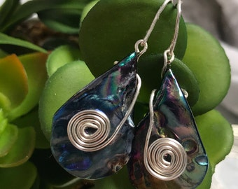 Dyed Shell Silver Wire Wrapped Earrings