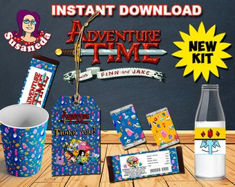 Adventure Time Party kit Instant Download in English, Finn and Jake, Bubblegum Princess Party kit, Adventure Time Birthday decoration
