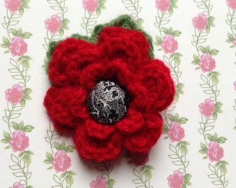 Hand Crocheted Flower Brooch Corsage in Red