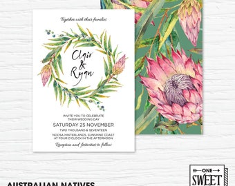 Protea Wedding Invitation Printable, Australian, Eucalyptus Leaves, Gum Leaves, Native Flowers, Nature, Spring Wedding, prink and green