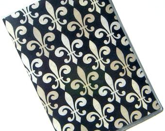 Passport Case Cover Holder -- Fleur de Lis on Black Background