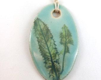Celadon porcelain botanical pendant, Saskatchewan wildflower leaf ceramic necklace pendant, green blue