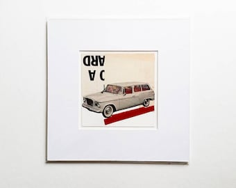 Original paper collage, vintage car collage, vintage paper collage