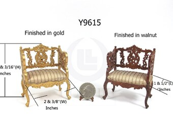 Miniature 1:12 Scale Louis XVI Ornate Carved Chair For Doll House[Finished In Walnut / Gold]