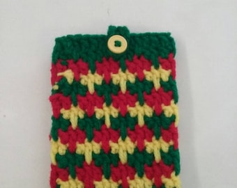 Crochet Cell Phone case, crochet Rasta case, Crochet Rasta Cell Phone Cozy, Cell phone cozy, Crochet Phone Case / Free Shipping!!