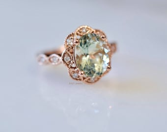 14K Rose Gold Vintage Style Oval Green Amethyst And Diamond Ring- Has Matching Band
