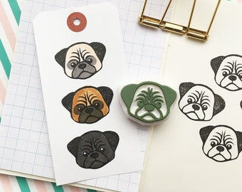 pug rubber stamp | puppy dog | animal stamp | gift for dog lovers | card making | diy planner journal | hand carved by talktothesun