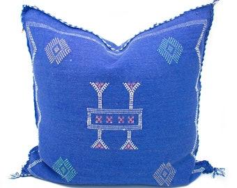 Cactus Silk Pillow Cover, Sabra Silk Pillow, Moroccan Cactus Silk Pillow, Blue Sabra Silk Pillow Cover, Moroccan Sabra Silk | 19x19 | Emery
