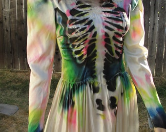 Black, pink, blue, and green skeleton halloween costume undead bride size 5/6 fits small skull