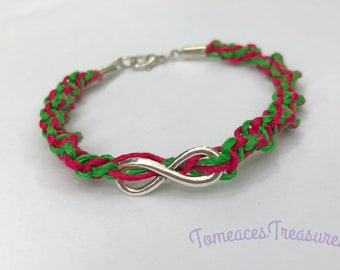 Infinity bracelet hemp bamboo twine hot pink braided free shipping green for her love daughter sisters cousins friends
