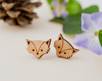 Wooden Fox Earrings, Fox Studs, Sterling Silver Earrings, Silver Fox Earrings, Fox Stud Earrings, Nature Lover, Teenager Gift, Fox Earrings