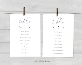 5x7 Navy Wedding Seating Chart PDF Template Printable, Instant Download, Editable Hanging Guest Seating Cards Table assignments party decor