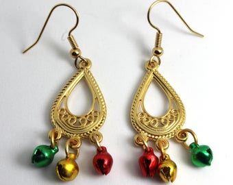 Jingle Bells, Gold Jingle Bells Earrings, Christmas Earrings, Gold Jingle Bell Earrings